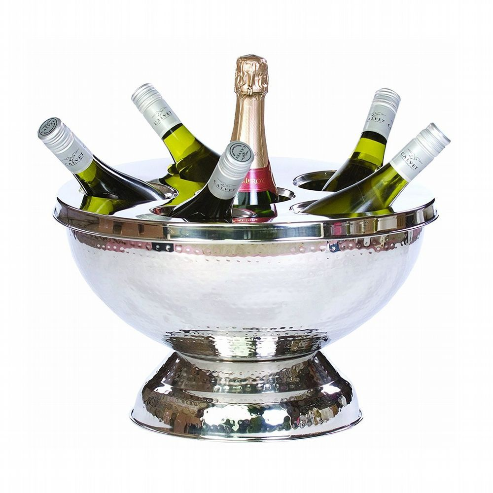 Large Silver Wine Cooler - 6 Bottles